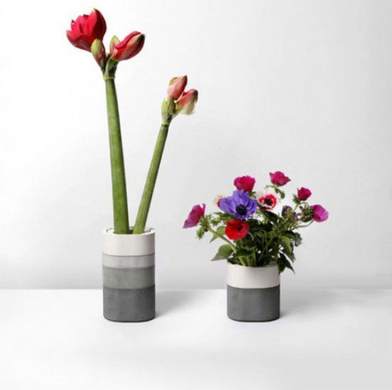декор ваза интерьер дизайн идея оригинально бетон цветы красиво