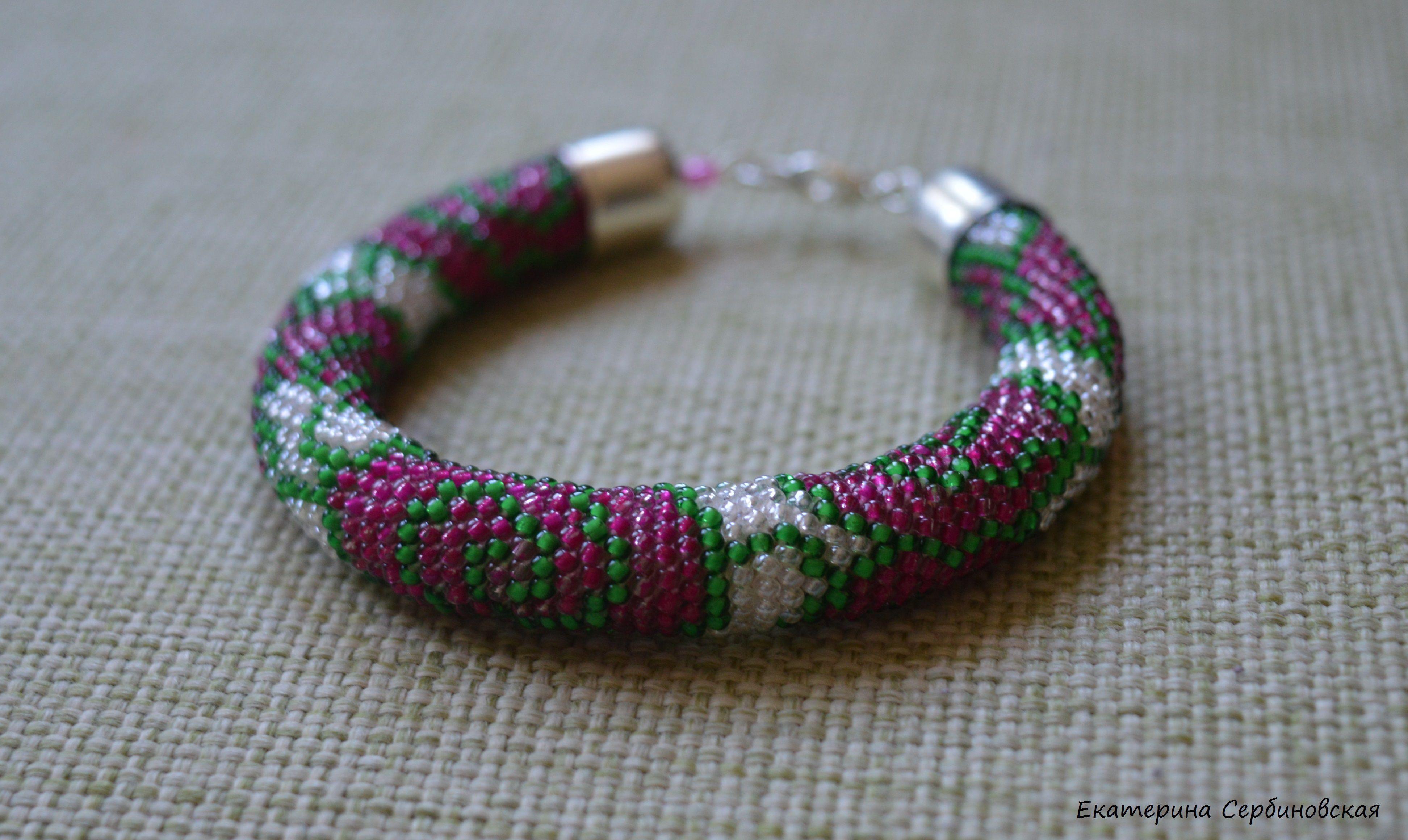 handmade роза бисер браслет