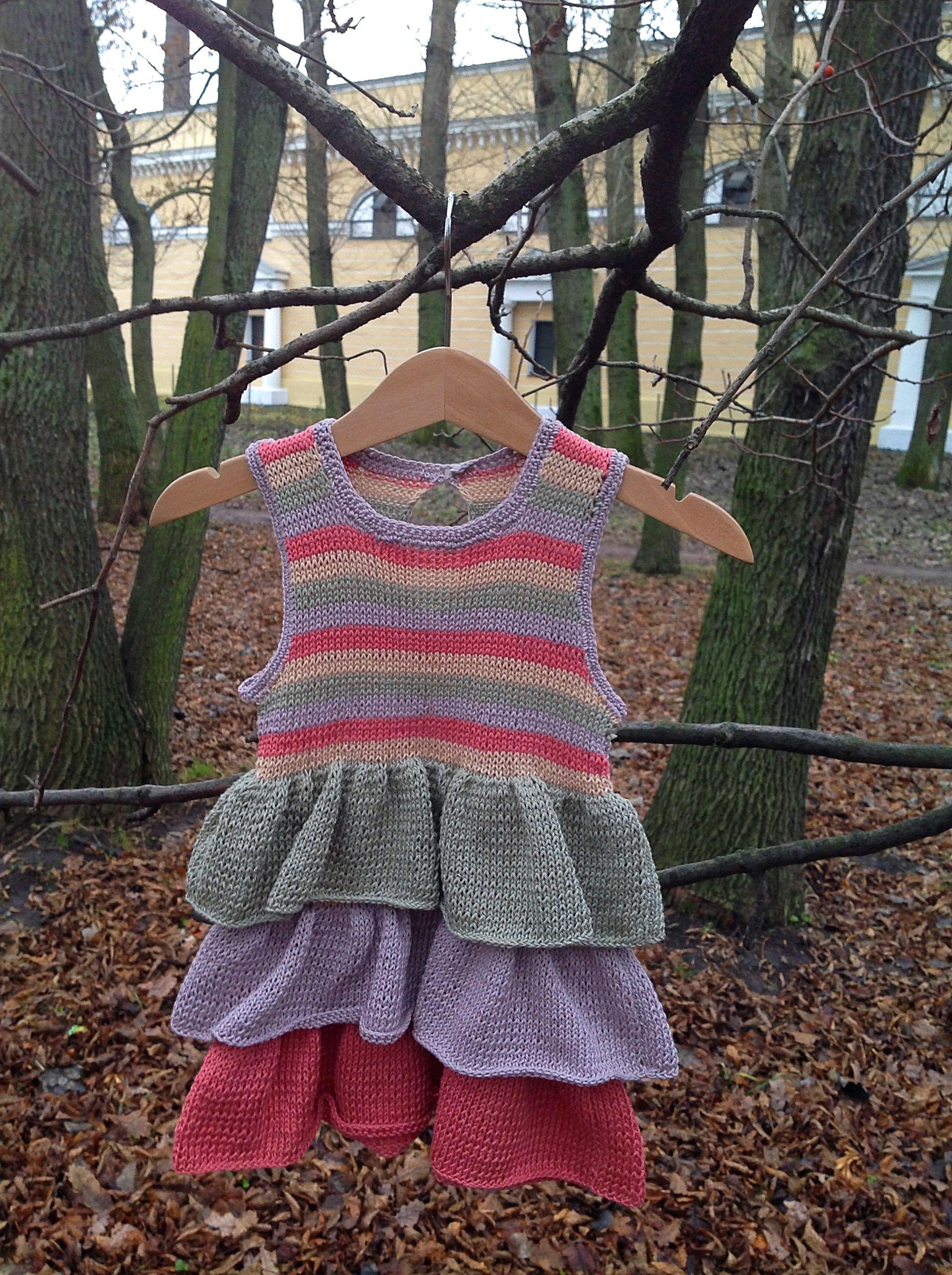 2полоски детскаяодежда длядевочки вязание ручнаяработа платье
