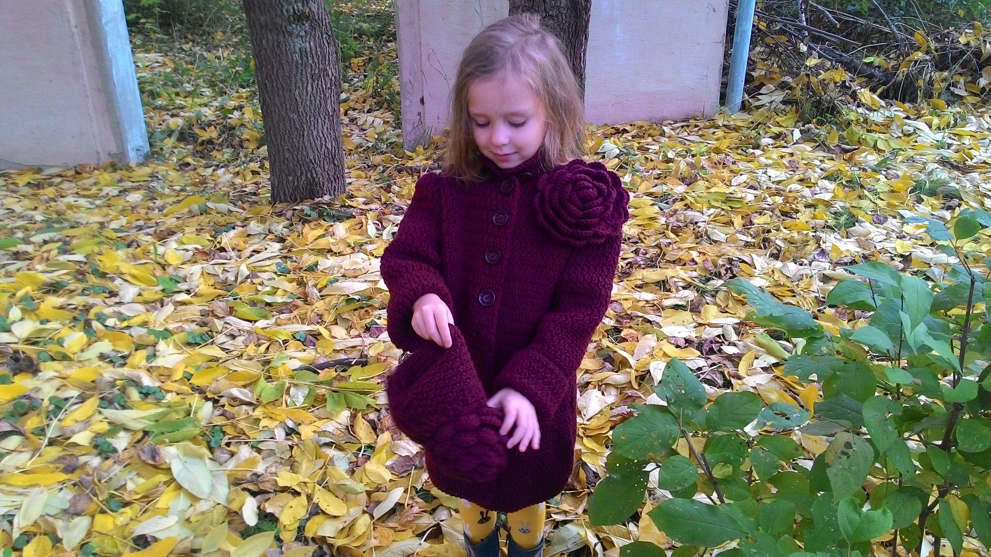 вязание детское детская с осенний для детский розой пальто одежда осеннее девочек кардиган спицами
