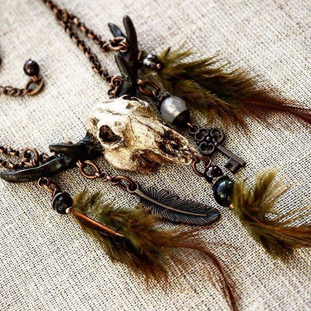 skull твойстиль handmade украшение череп fimo подарок перья ручнаяработа