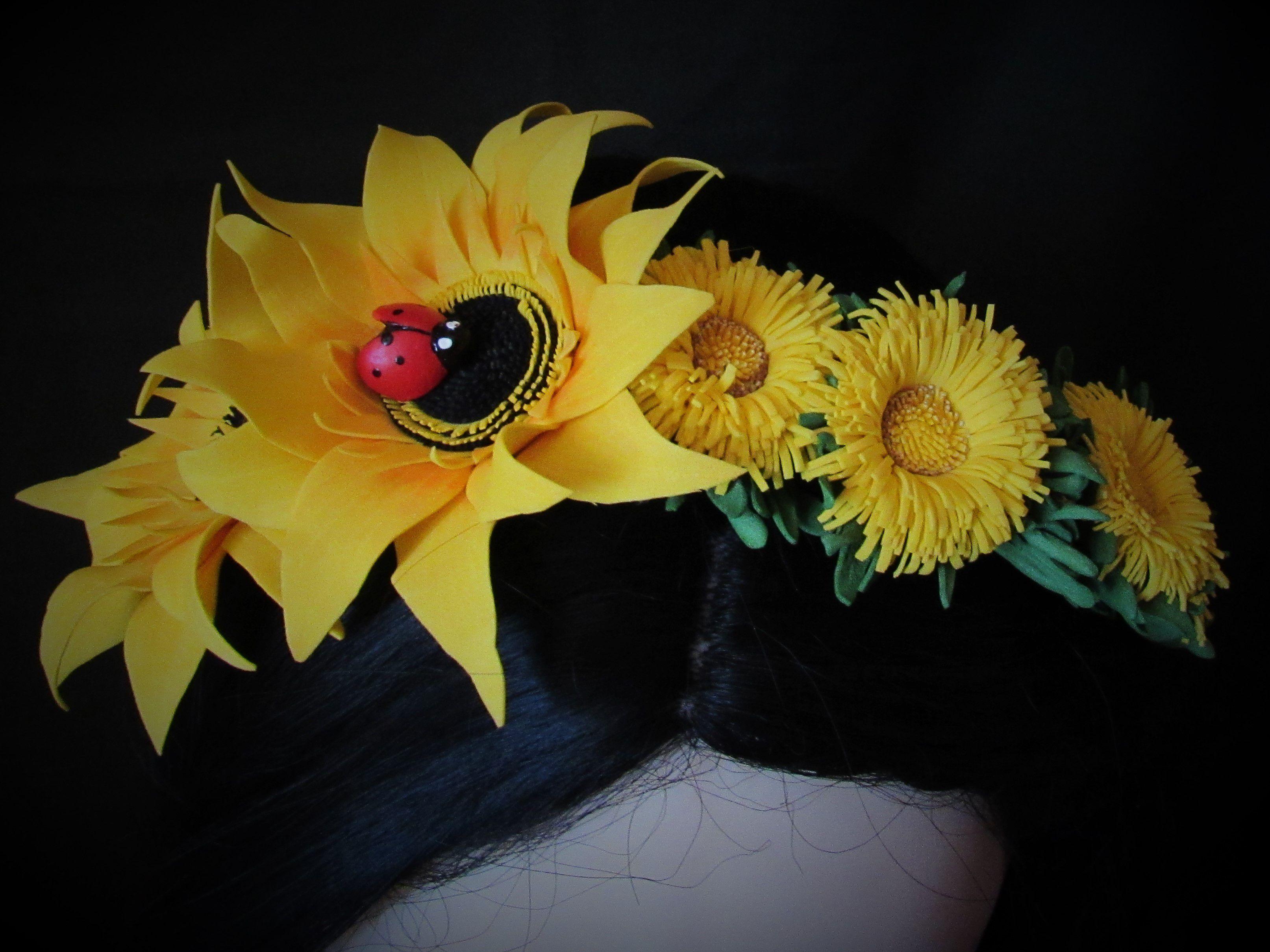 фоамирана подсолнухи одуванчики ободок из цветы