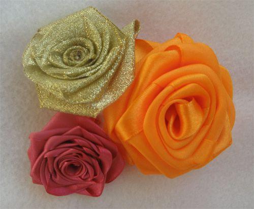 Розы из атласных лент мастер класс 5