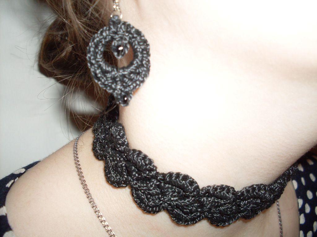 работы серьги ручной черные украшения вязаные