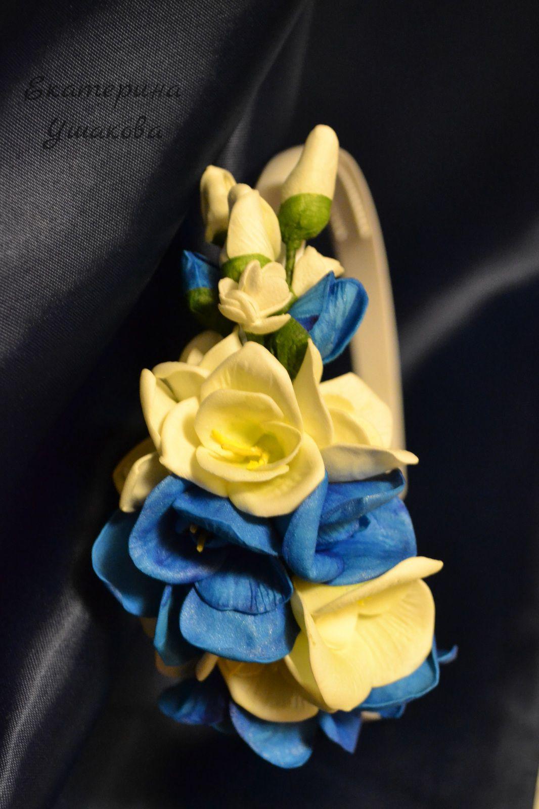 венецианскаялагуна украшениядляволос синий подарок цветочныеоблака ободок белый ободокдлядевушки ободоксцветами