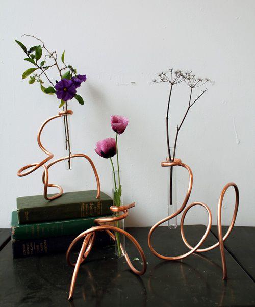 медь ваза проволока интерьер цветы стекло