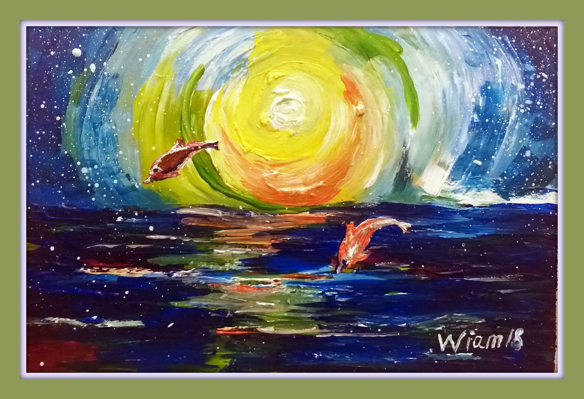 авторская арт вода ручная морской дельфины техника океан продажа солнце смешанная картины море пейзаж работа вещь