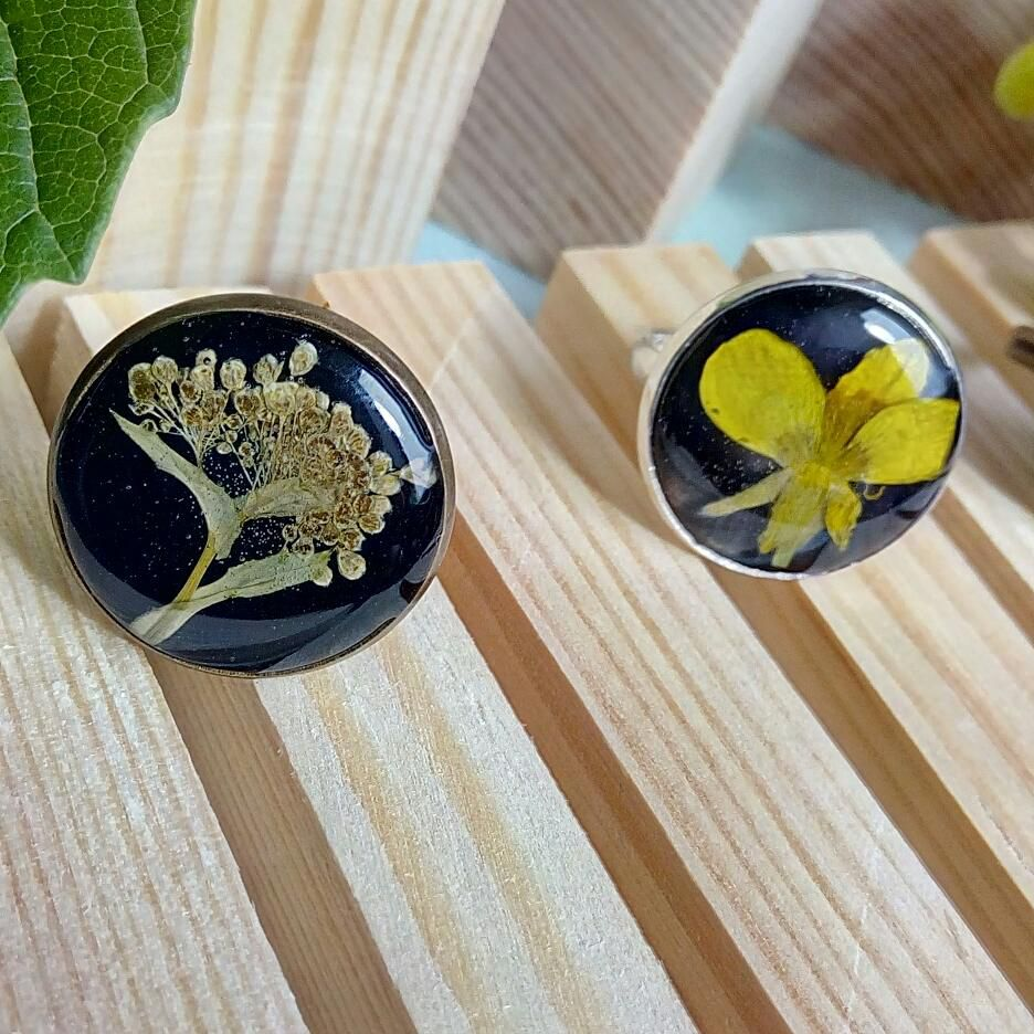 кольца гербарий кольцо украшения эпоксидка сухоцветов цветы подарок
