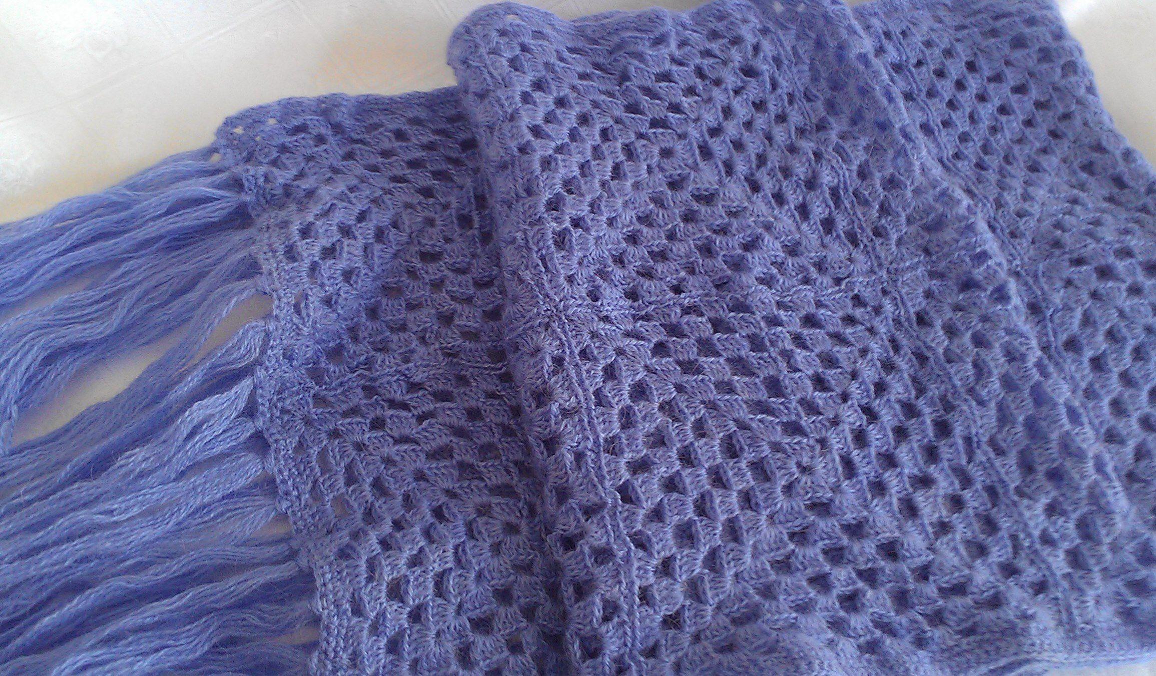 шарф работы крючком ручной палантин шаль