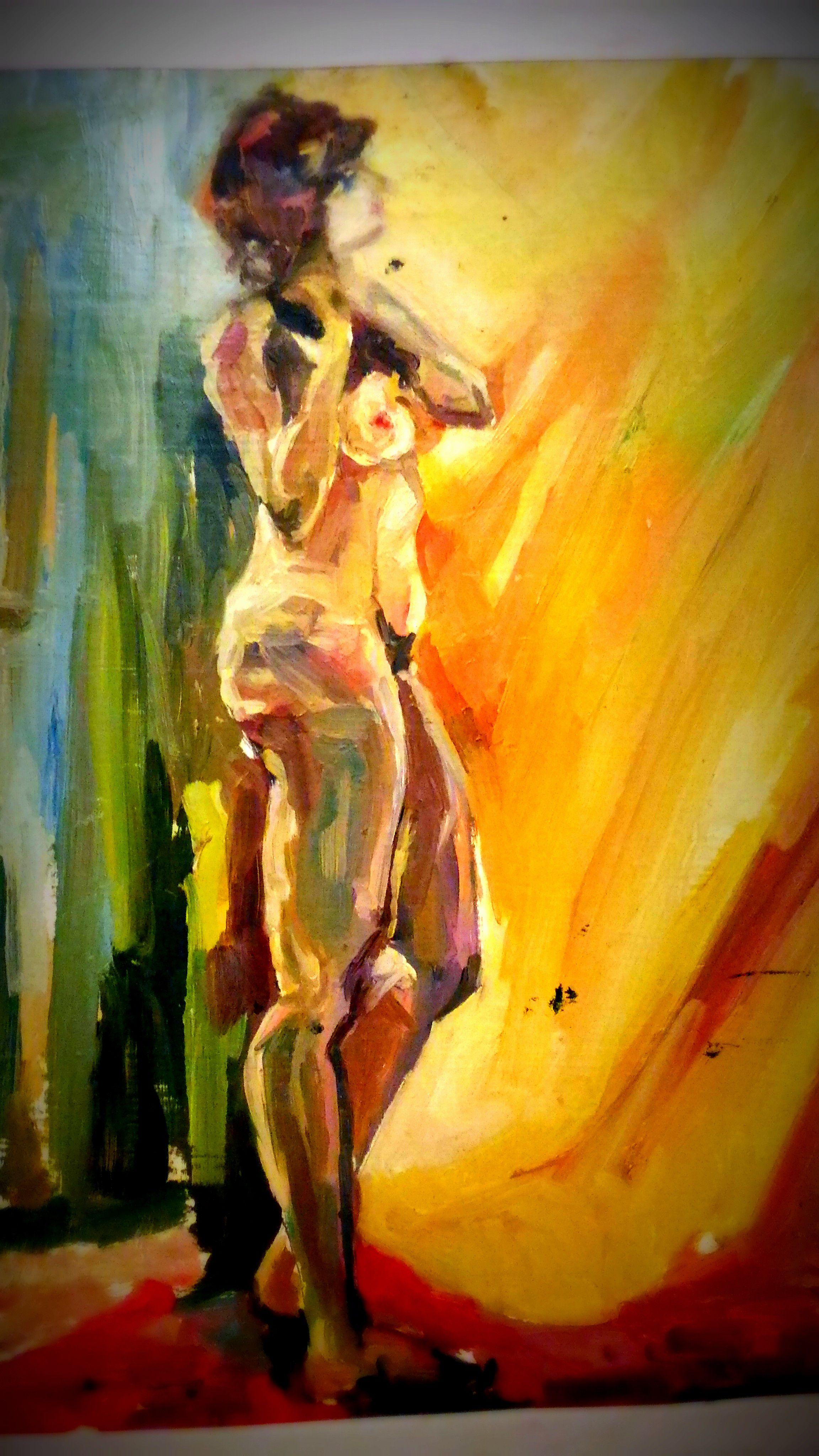 масло живописькартины модель солнце свет девушка натурщица