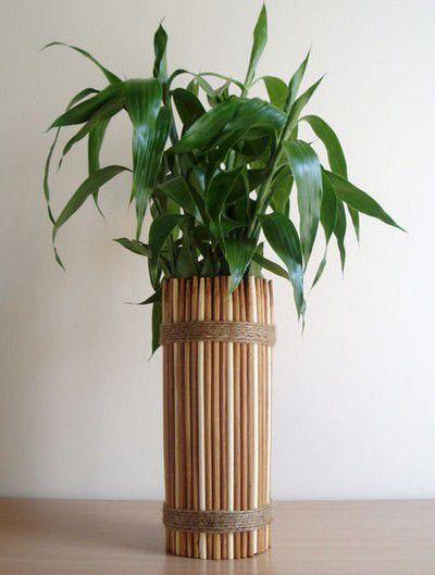 дома декора бамбуковых палок ваза для из идеи руками своими