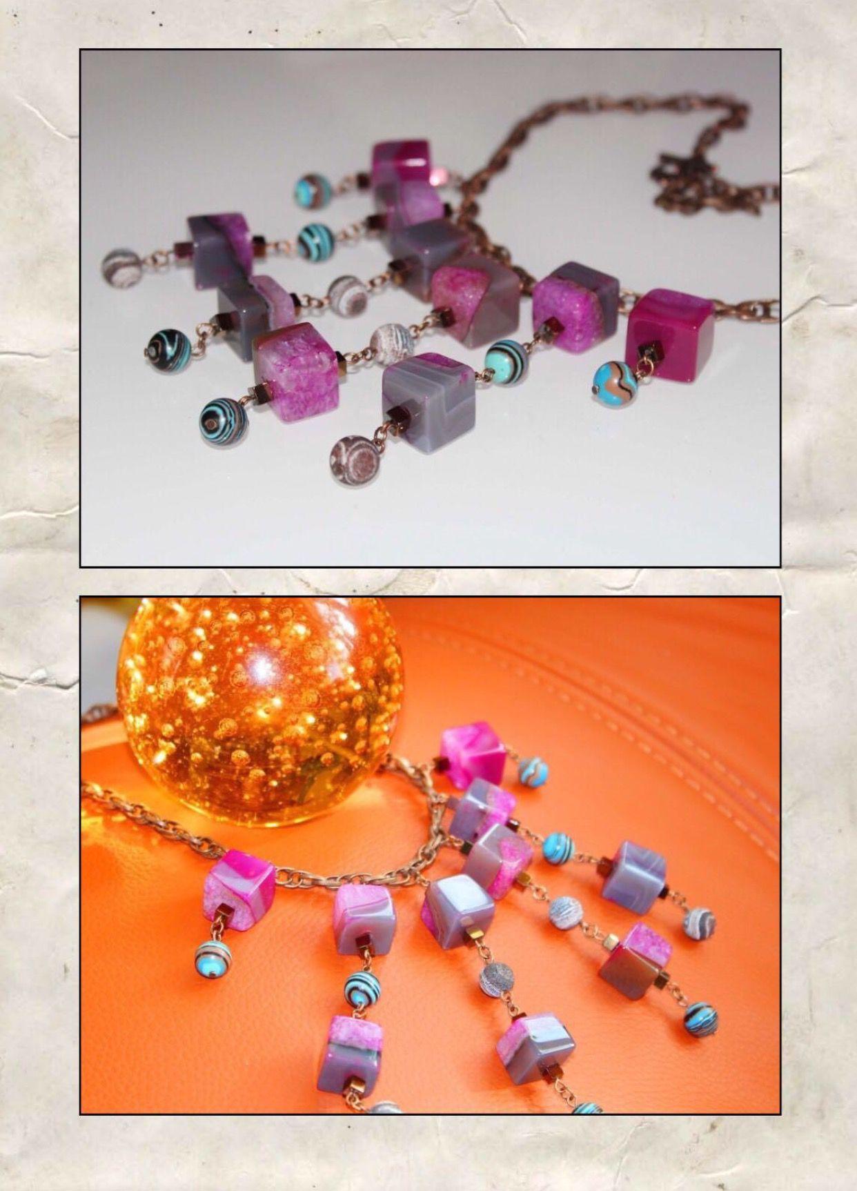 ручнаяработа агат розовый массивно цепь камни handmade украшения натуральные подарки медь
