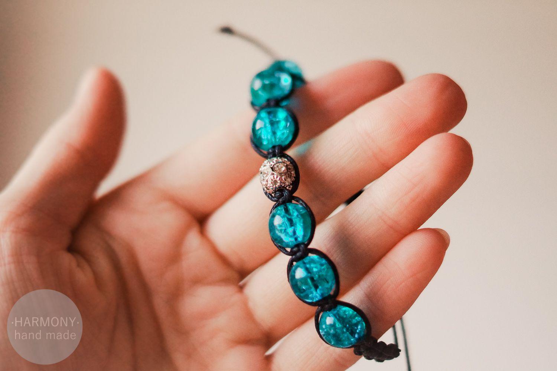 браслет шамбала голубой украшения бижутерия