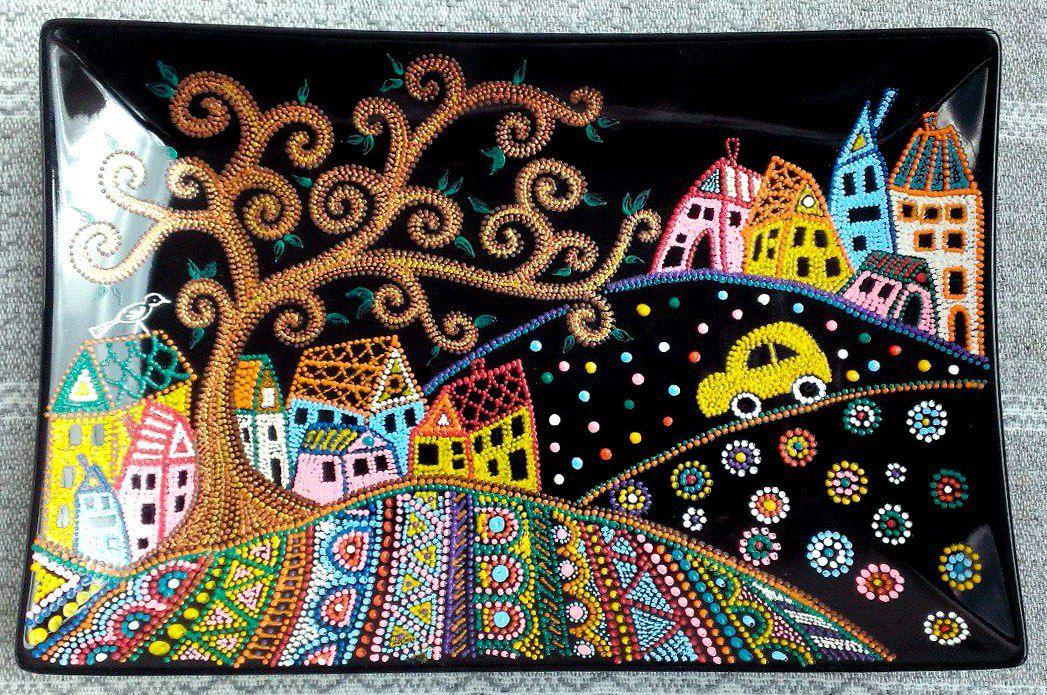 ручнаяработа путешествие подарок сказочноепутешествие декоративнаятарелка декор точечнаяроспись тарелка handmade сказка
