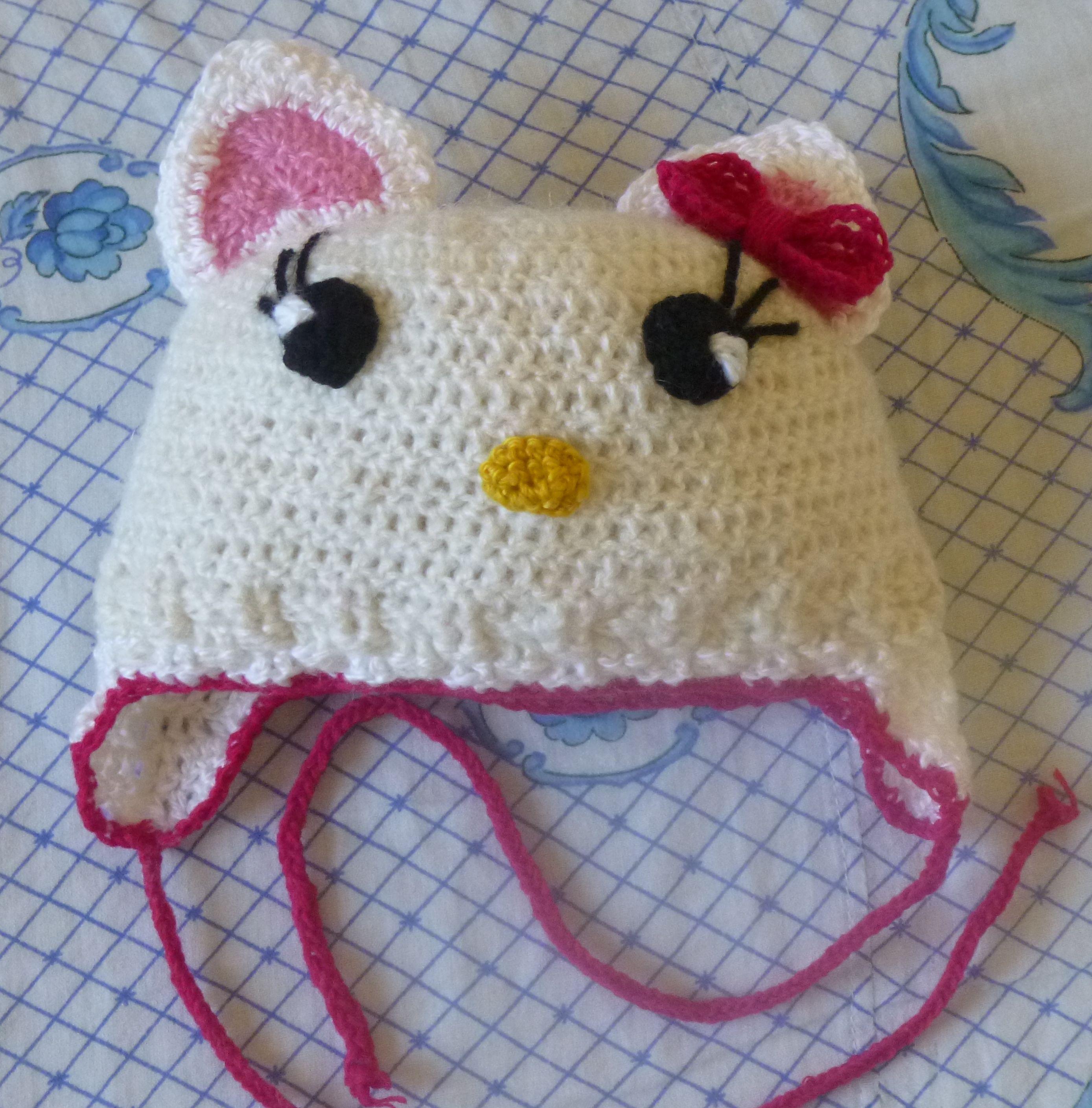 kitty hello шапочкаhellokitty демисезонная детская акрил шерсть весенняя вязаная шапочка зимняя осенняя крючком