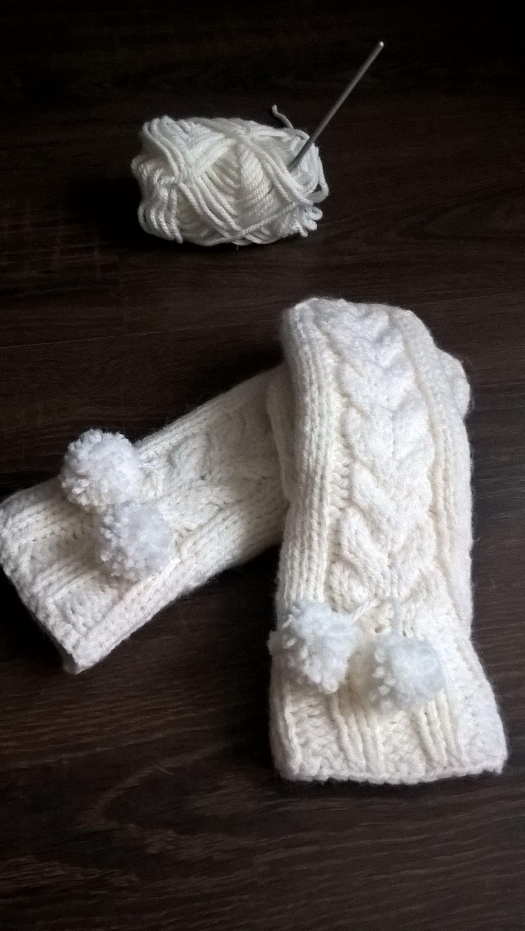 работа двойные теплые варежки зимние