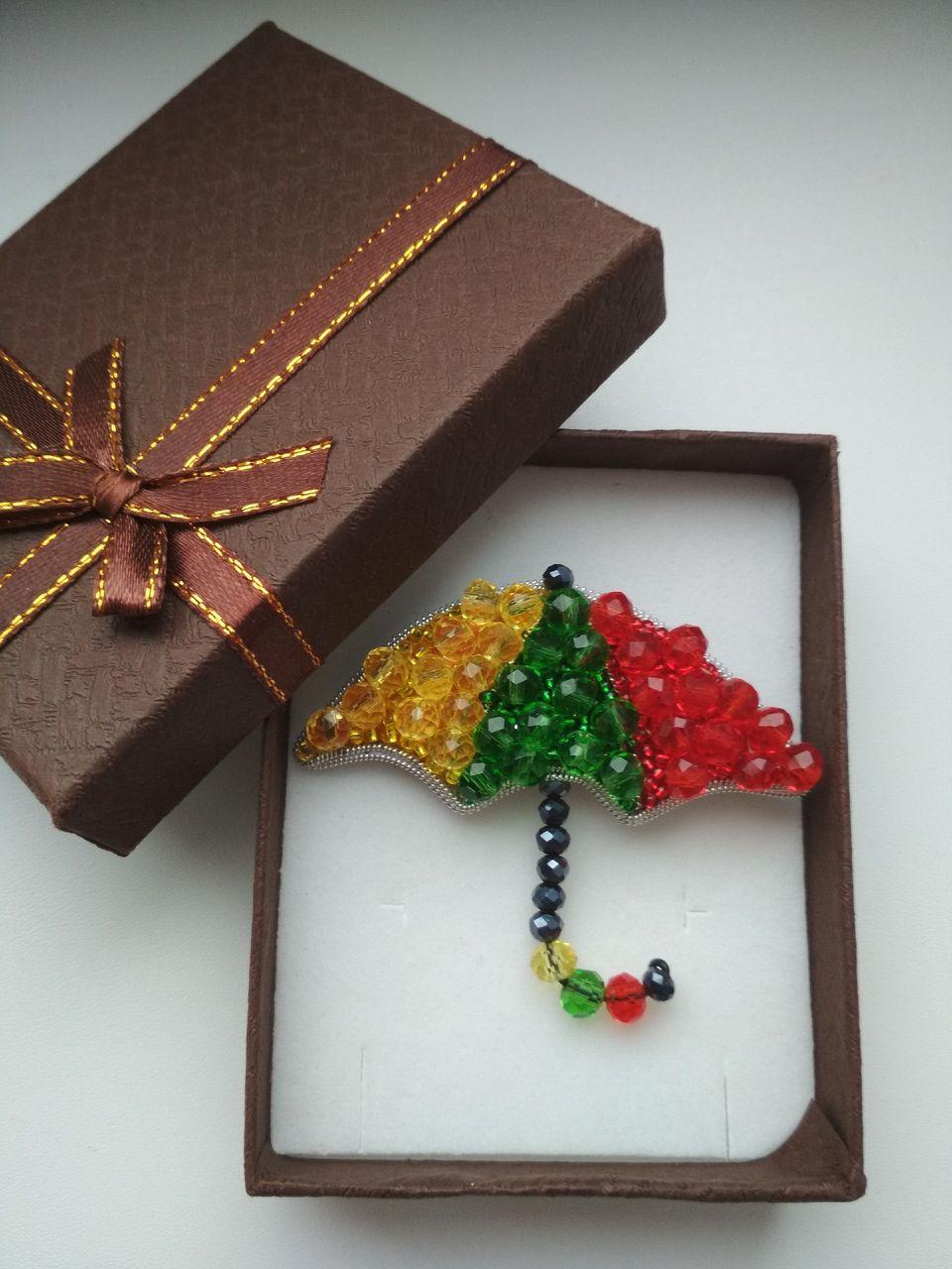женщине бисер осень бусины брошь хандра зонт разноцветный подарок