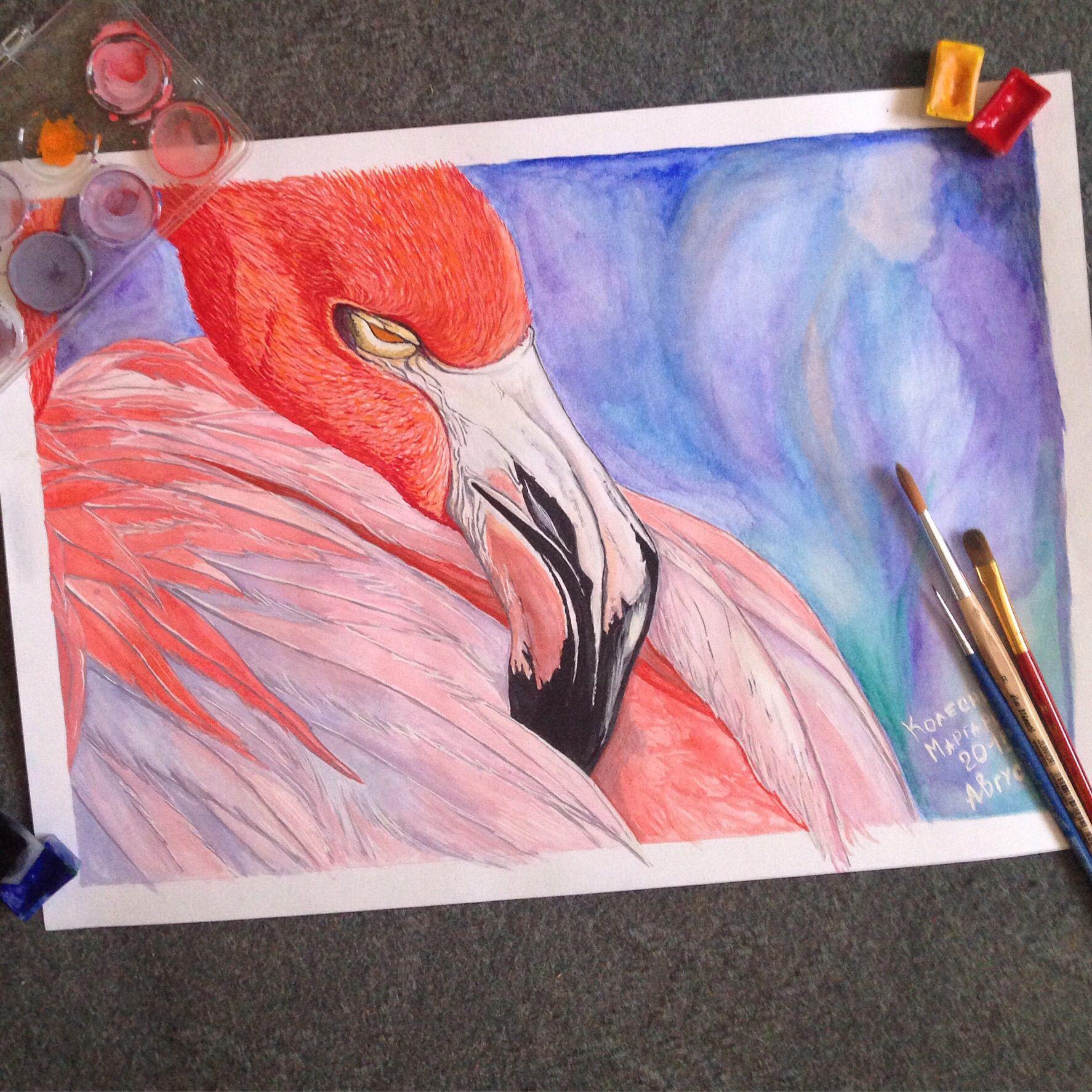 гостиная продаю картина купить детская декор рисую рисунки спальня интерьер дача столовая фламинго дизайн акварель продам дом