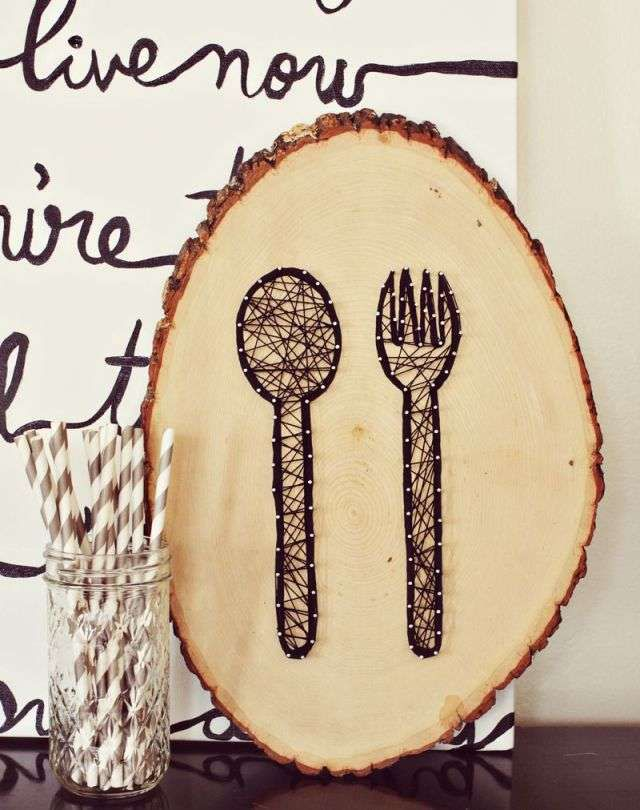 креативнаяидея эко поделкаиздерева вилка гвоздики сделайсам панно кухня своимируками хендмейд нитки ложка