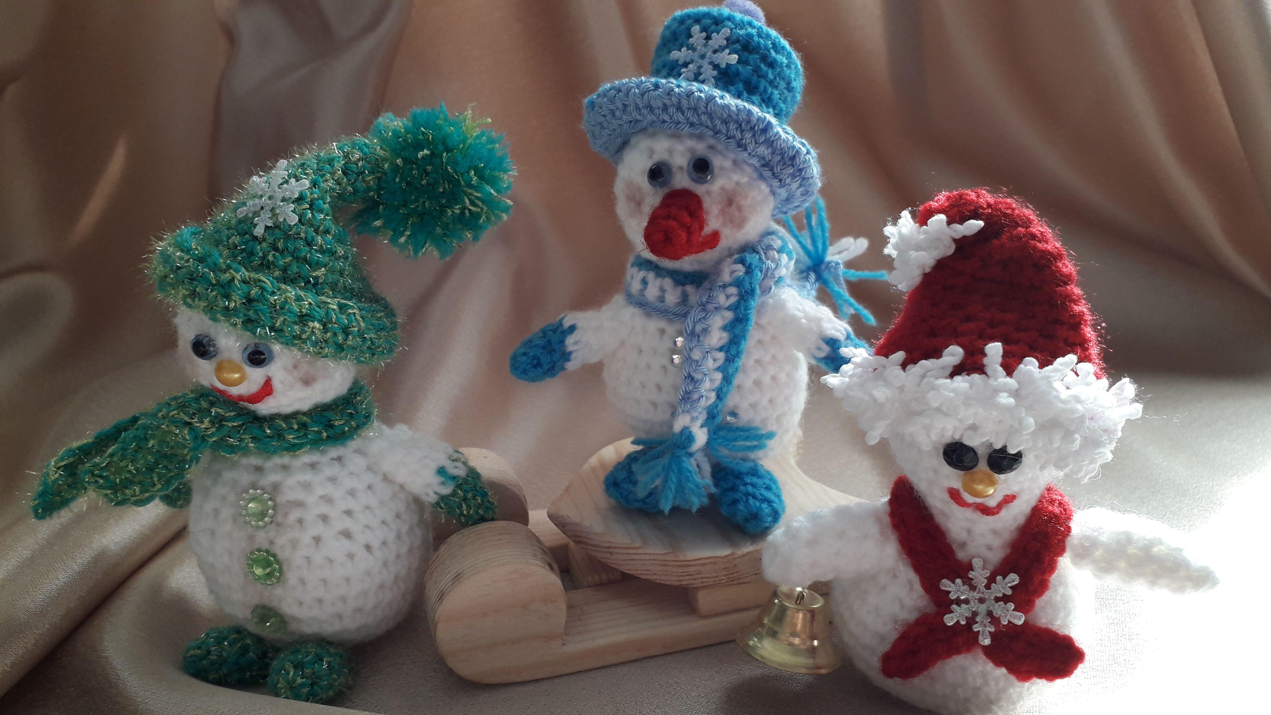 снеговики рождество длядетей вязание новыйгод игрушканаёлку сувениры игрушка подарок