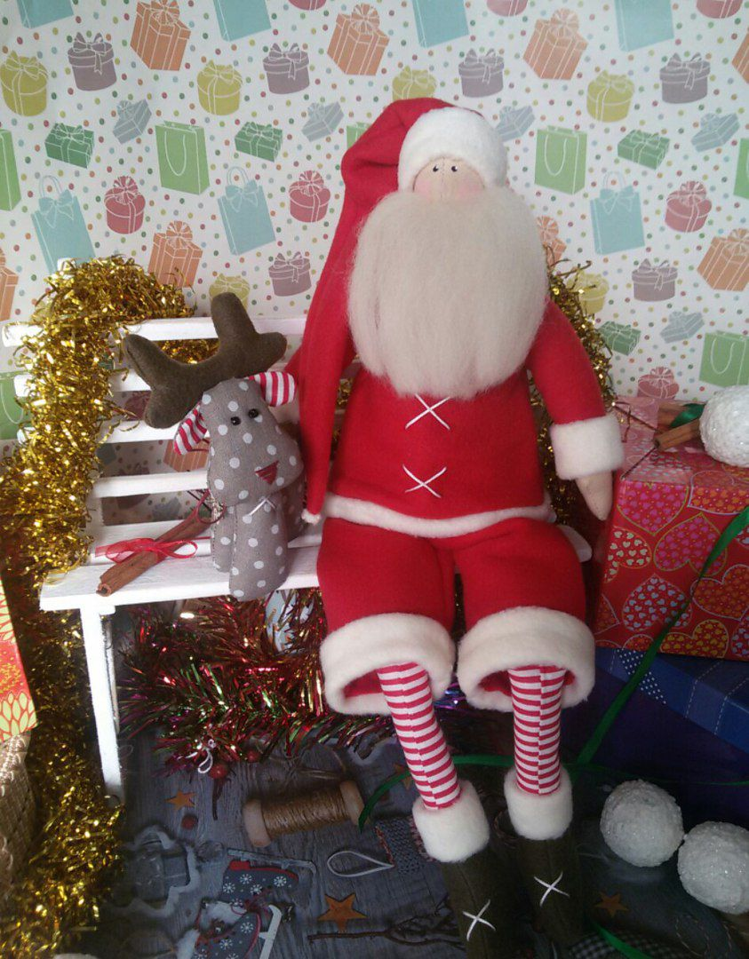 подарок санта олень рождество новый год кукла игрушка