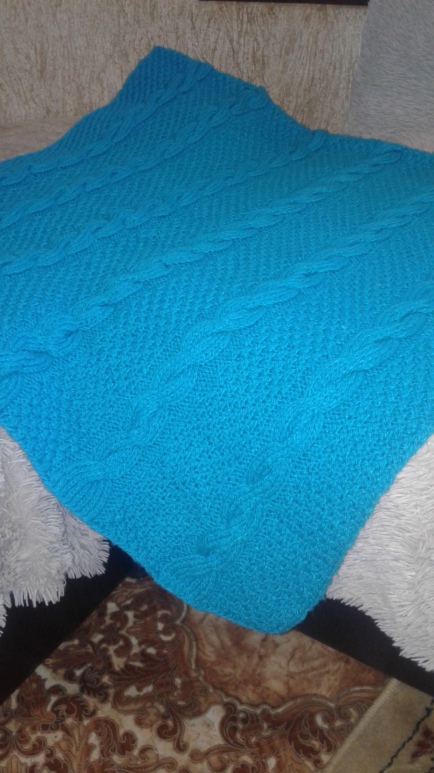 спицами пледскосами плед спицы вязание синий косы