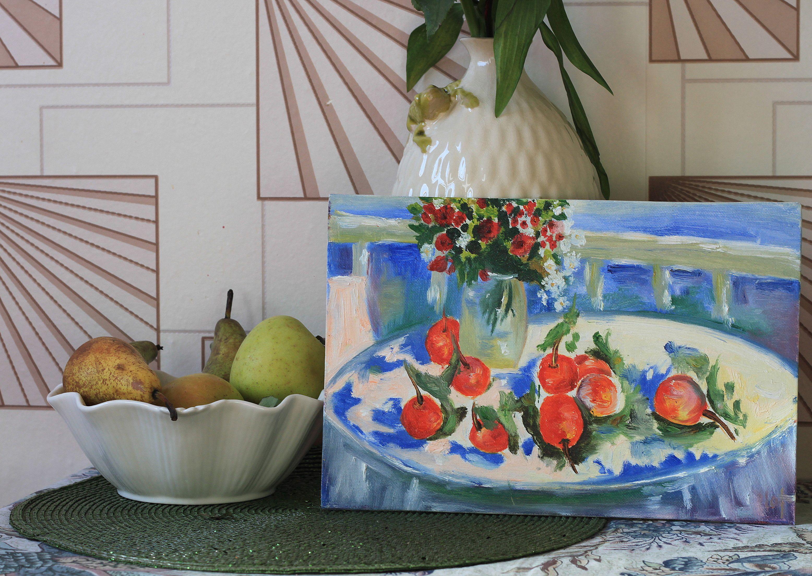 масло фрукты натюрморт холст цветы