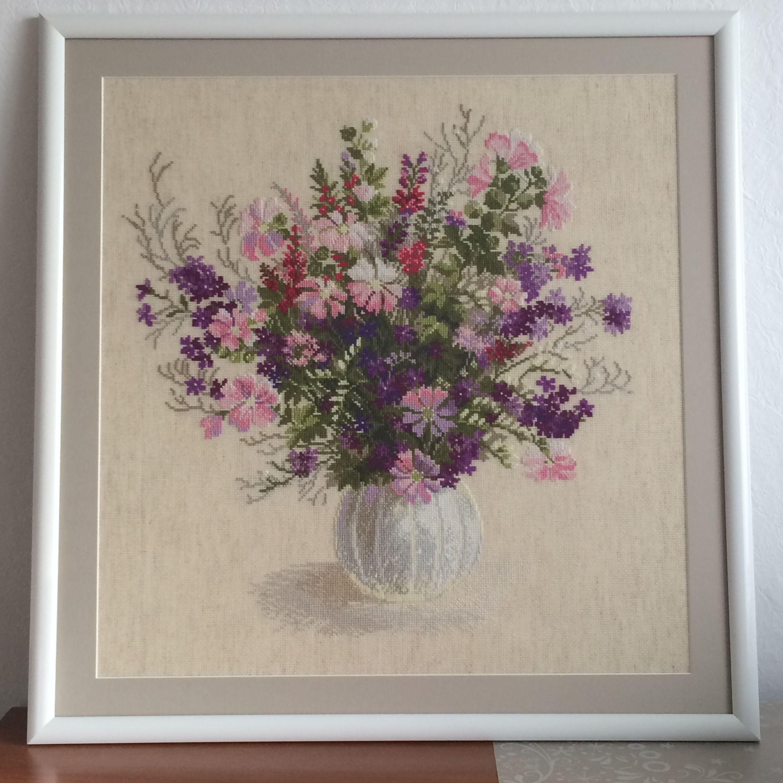 вышивка ручнаяработа цветы картина подарок
