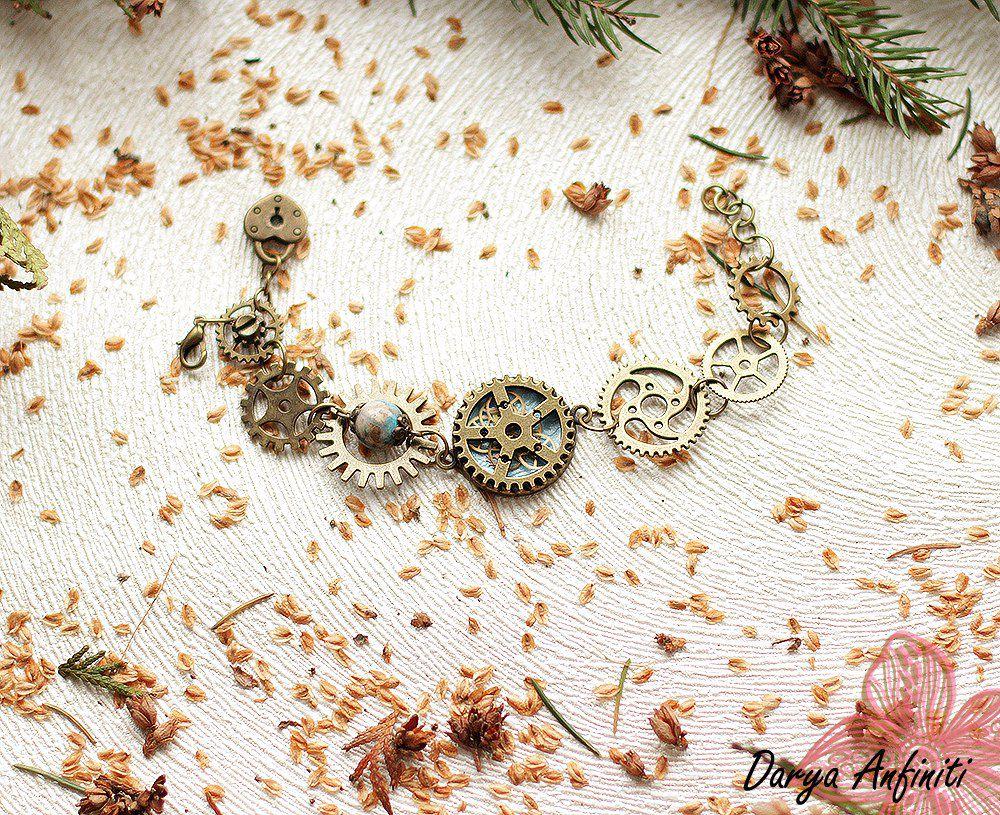 браслет заказ продажа хендмейд хэндмейд камней своими из работа ручная украшение камни украшения ручной шестеренки натуральные подарок стимпанк авторские творчество бижутерия