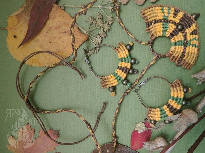 колье ручнаяработа бохо эксклюзивное серьги кулон комплект украшение оригинальное этно