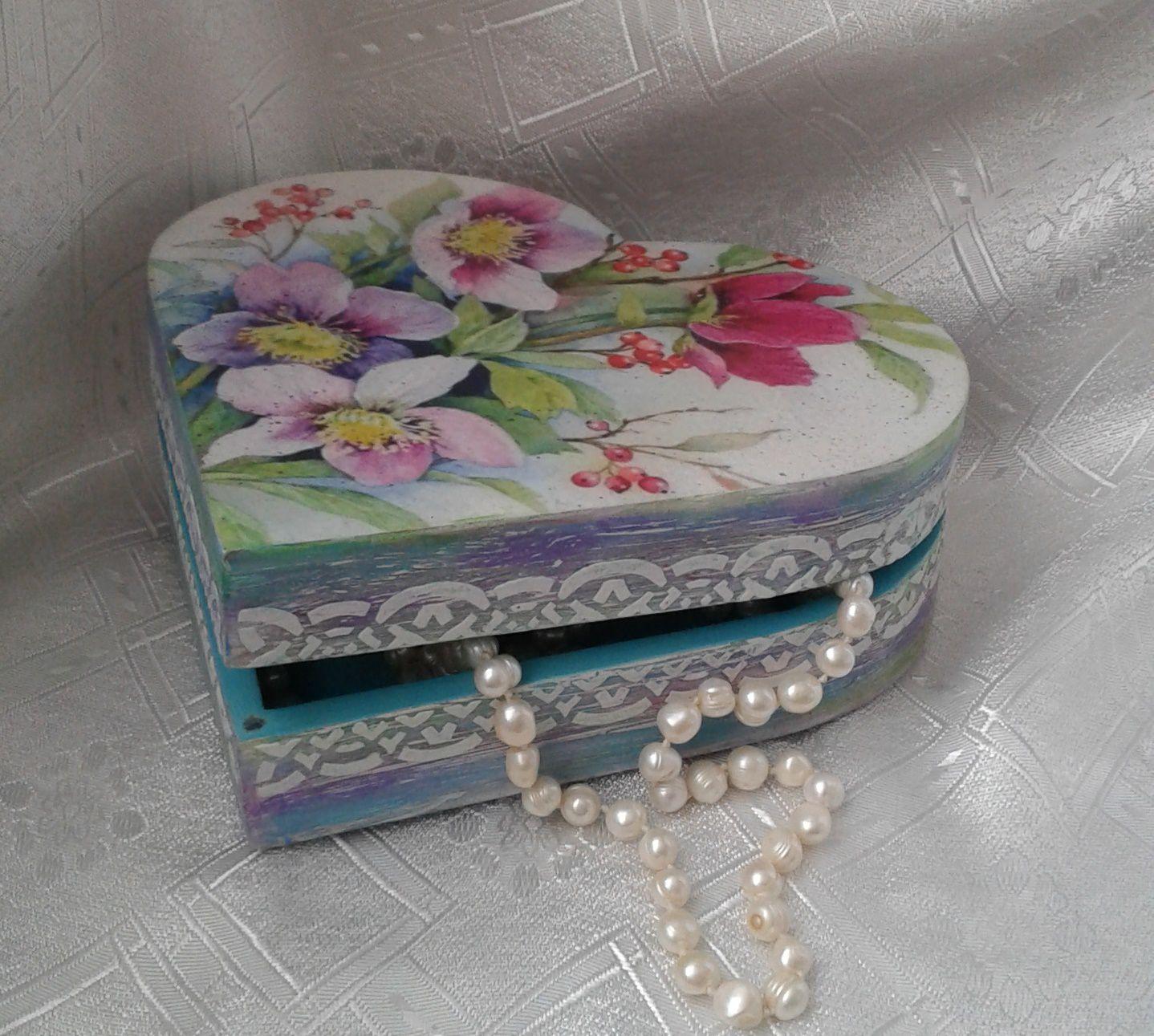 декупаж ручная шкатулка для украшений женщине работа подарок