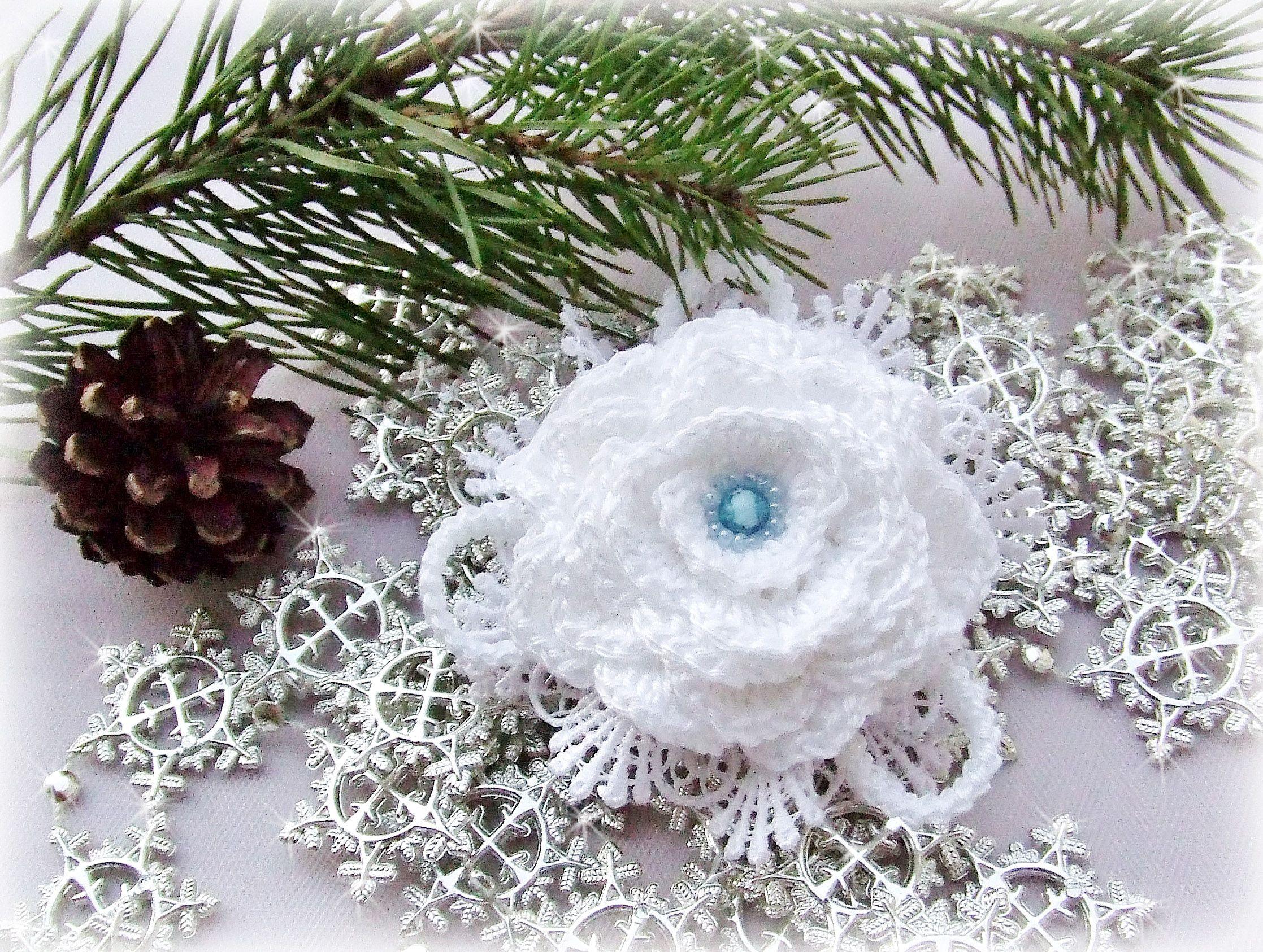 100% снежный брошь-цветок вязаная брошь хлопок белый