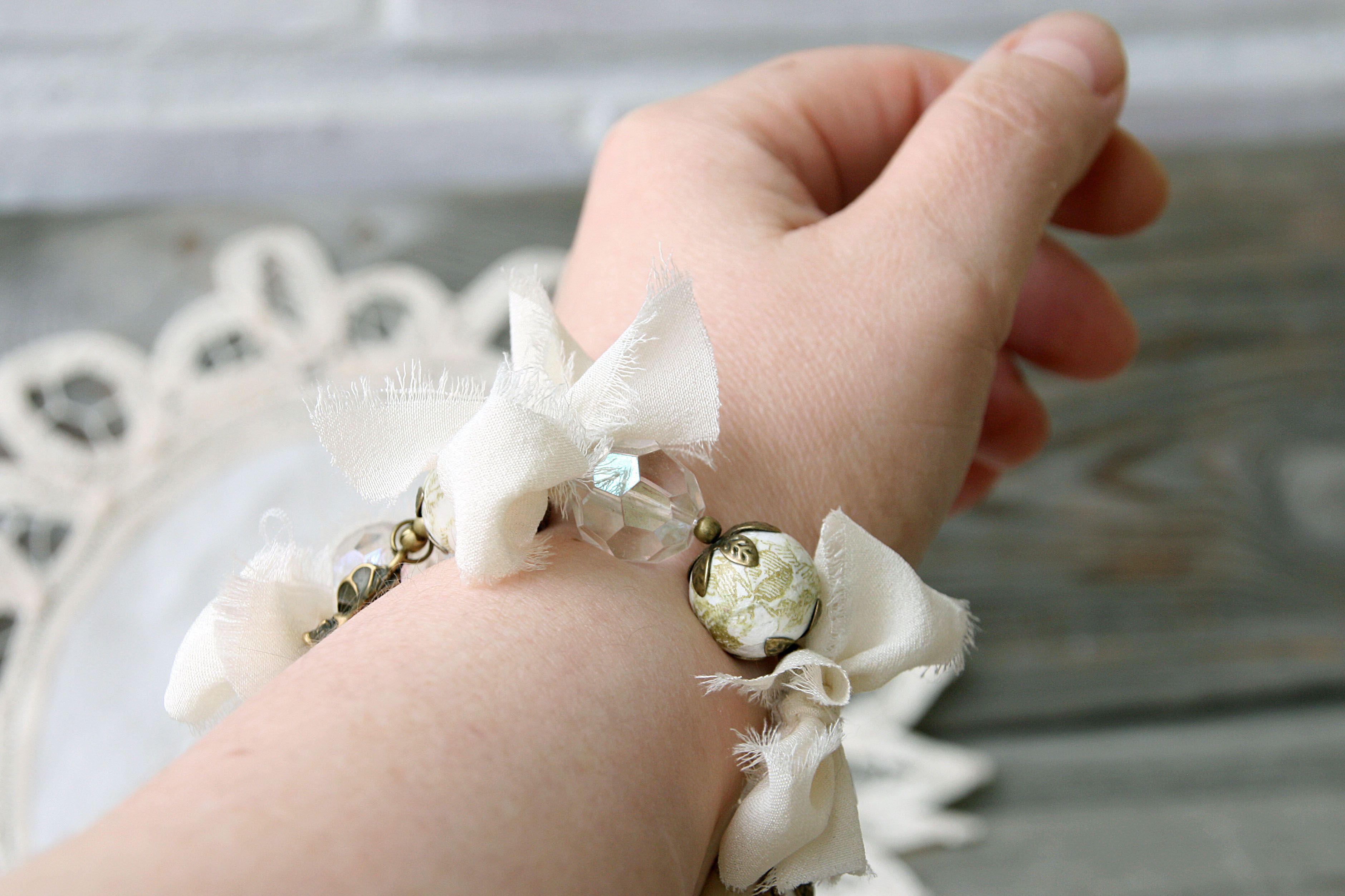бронзовый ретро романтический винтаж цветение украшение браслет золотистый белый