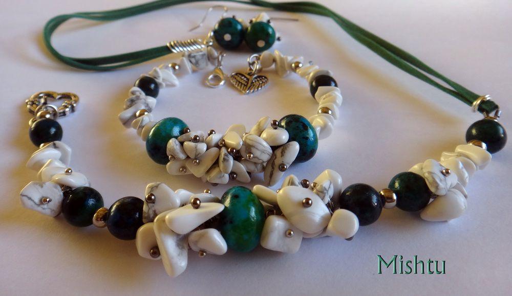 колье зеленый браслет серьги камни хризоколла белый кахолонг натуральные