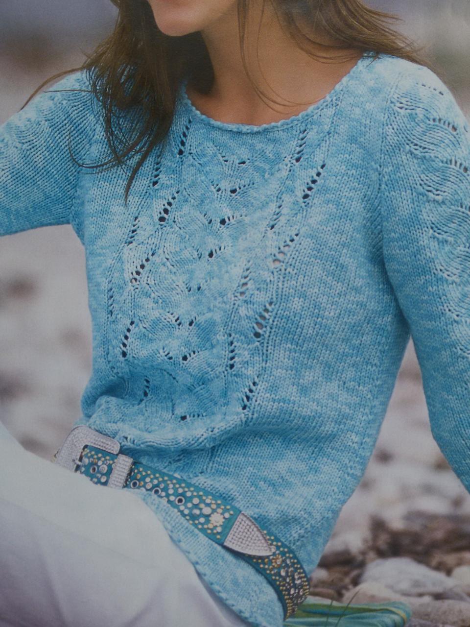 с рисунком пряжа кофта свитер спицами ажурный пуловер меланжевая