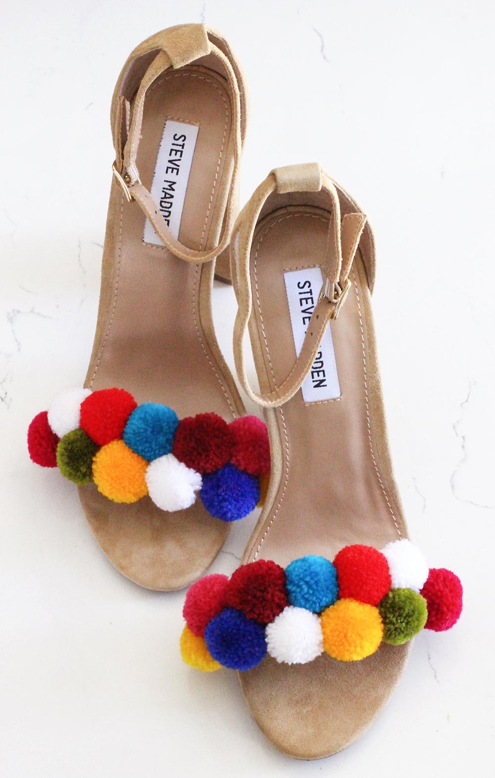обувипомпоны декора яркая обувь идеи руками своими сделай сам
