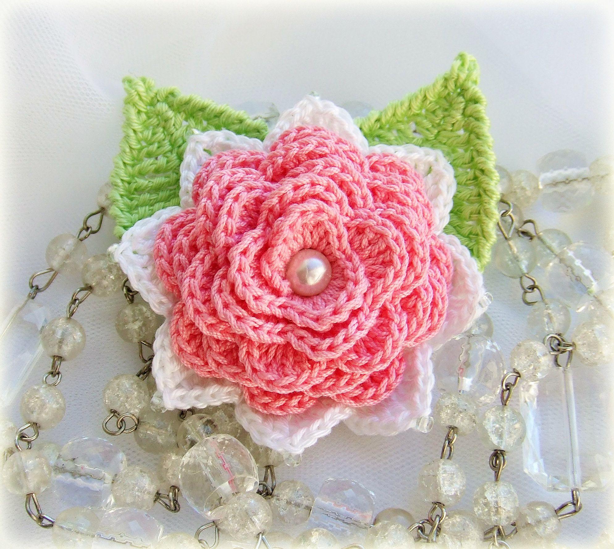 брошь-цветок 100% вязаная брошь хлопок розовый