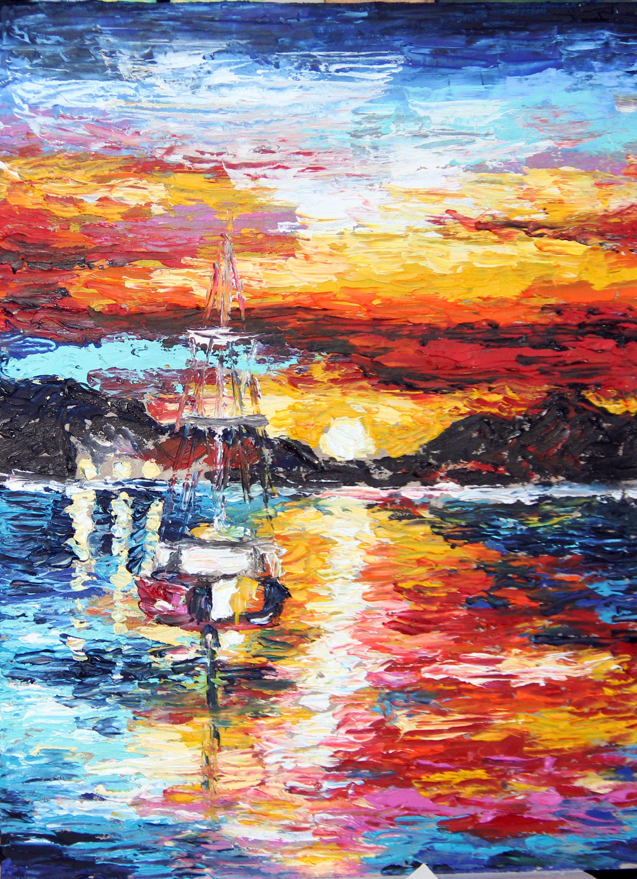 закат абстракция яхта холст живопись море мастихин масло пейзаж