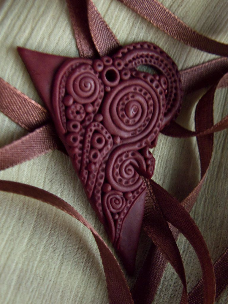 глина полимерка филигрань украшениенашею украшение кулон узоры полимернаяглина