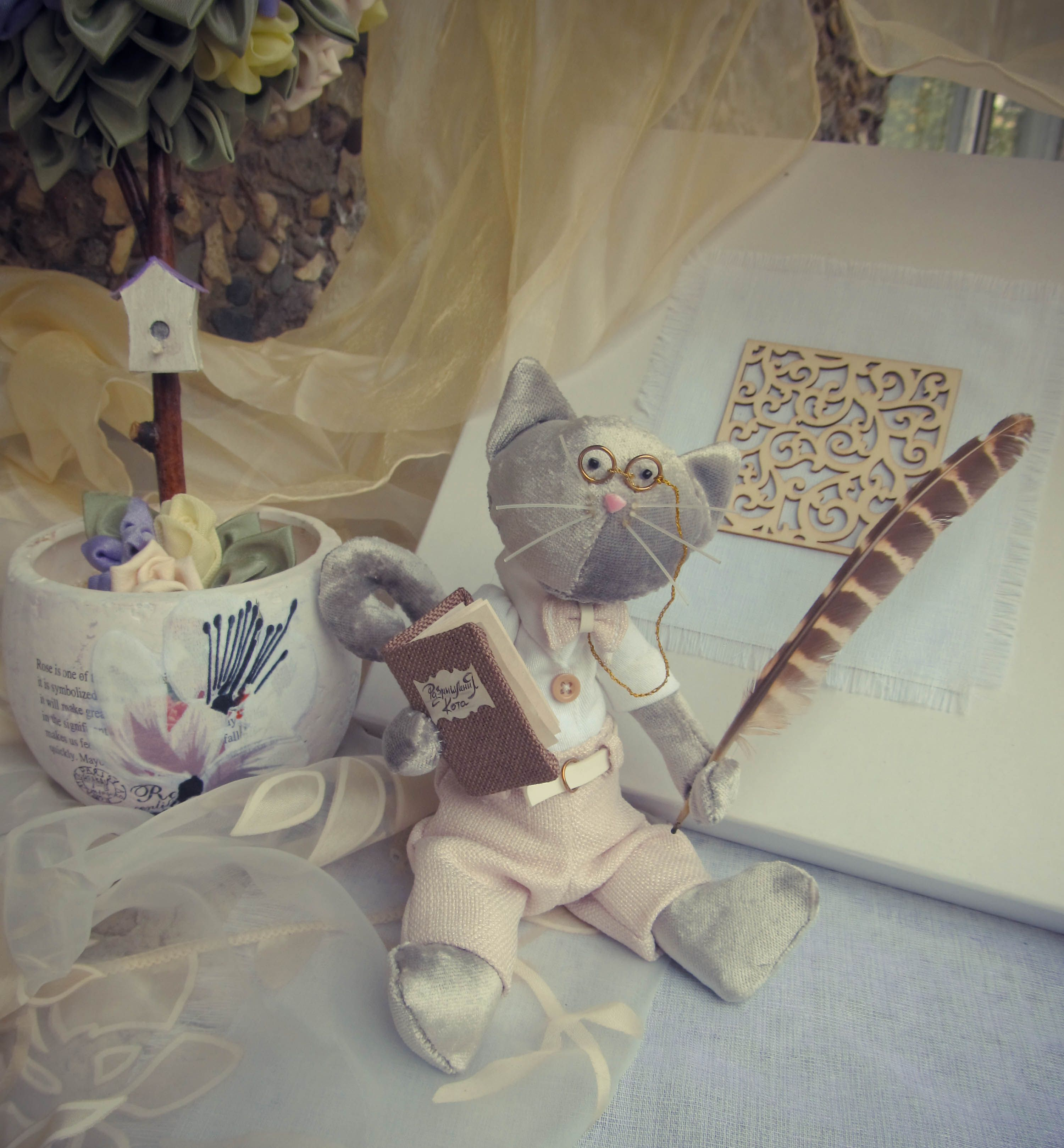 стихи поэзия лукоморье пушкин знание игрушка кукла декор интерьер тильда классика кот ученый просвещение ум