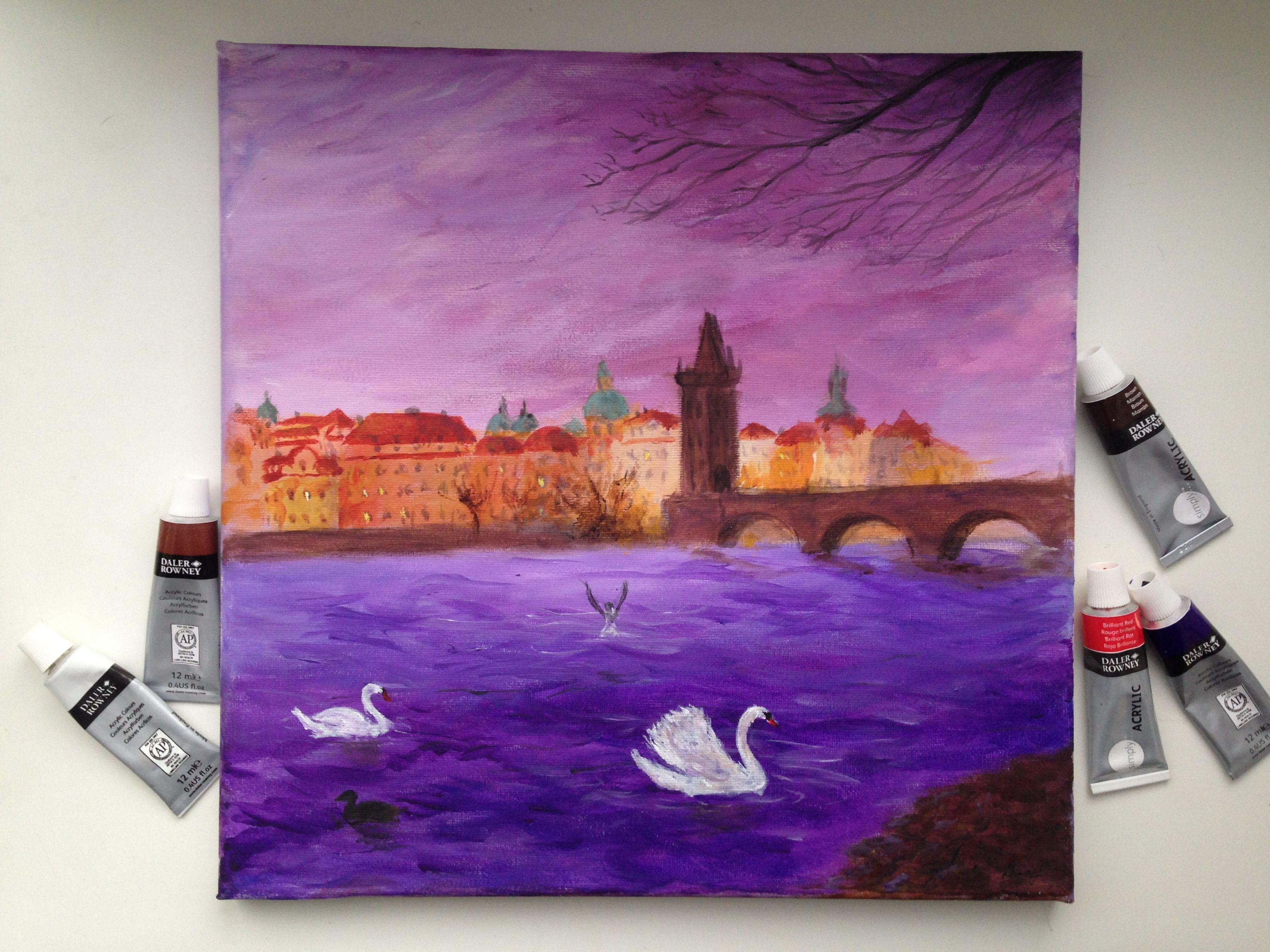 картина арт мост влатва прага карлов акрил живопись  пейзаж искусство лебедь