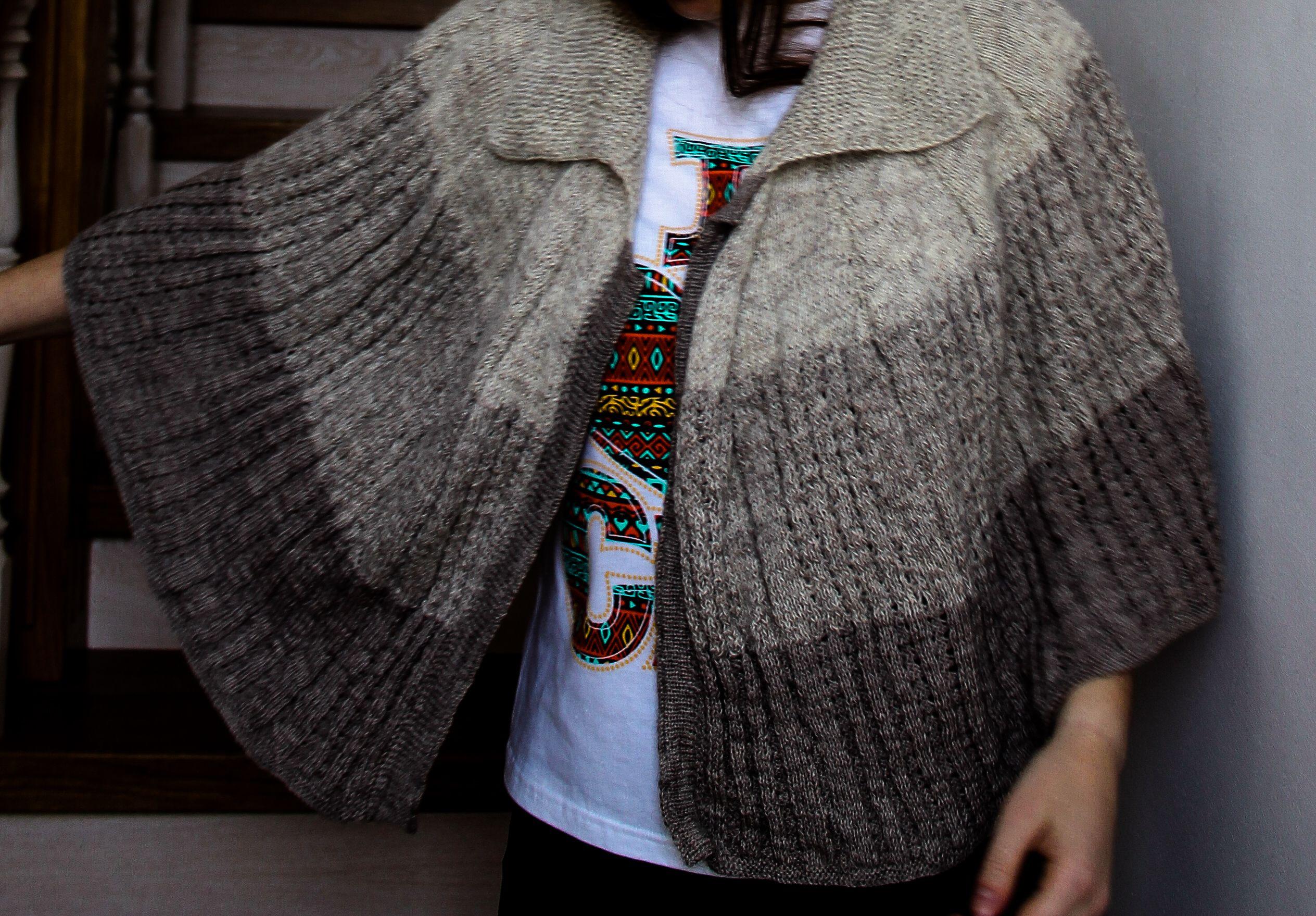 cardigan dress зиму original вязаная одежда серый handmade knitting knitted cape плечи для накидка ручная работа вязка женщин пончо knit