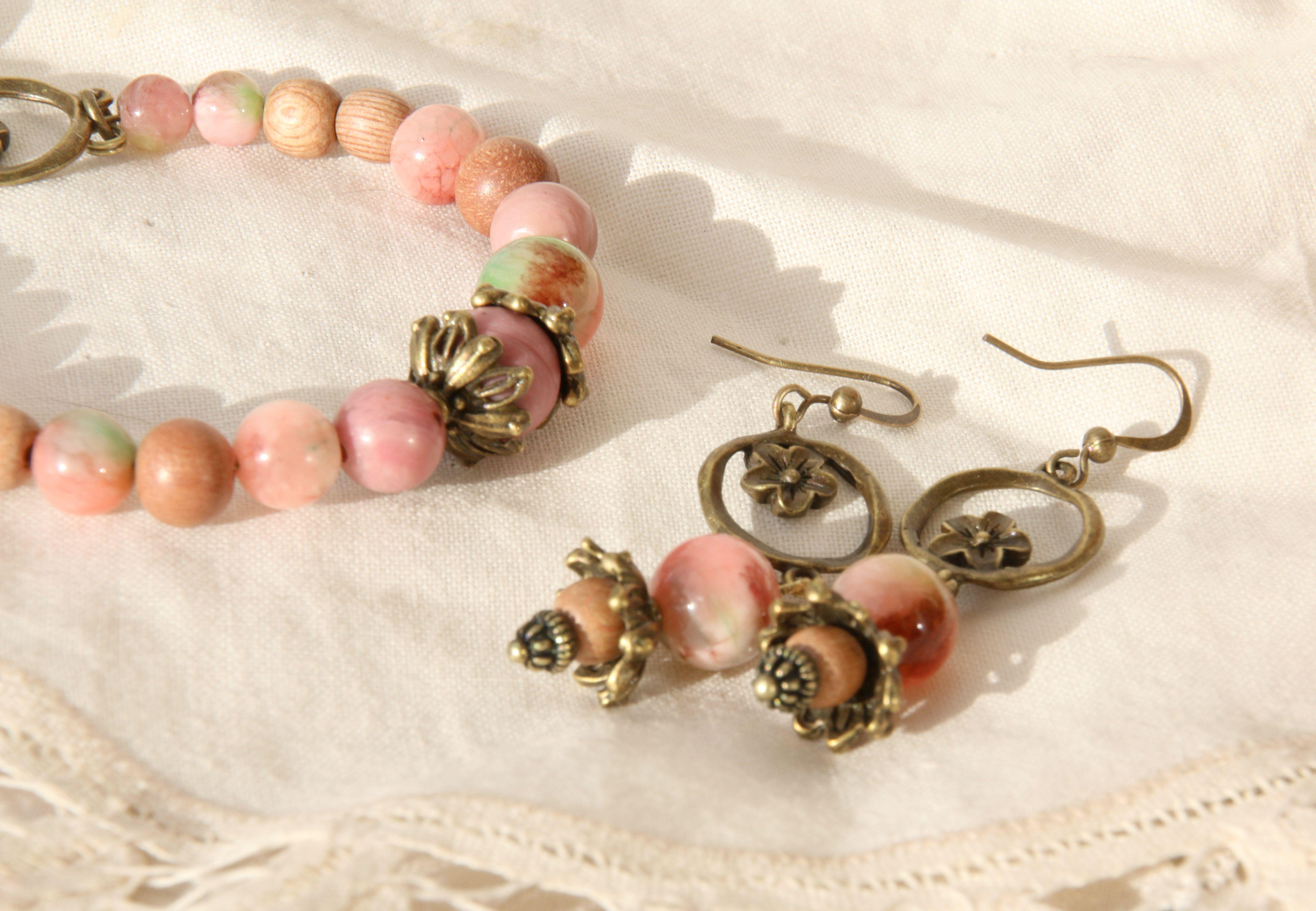 бронзовый сад серьги браслет природные розовый камни украшения авторские яблочный натуральные винтаж