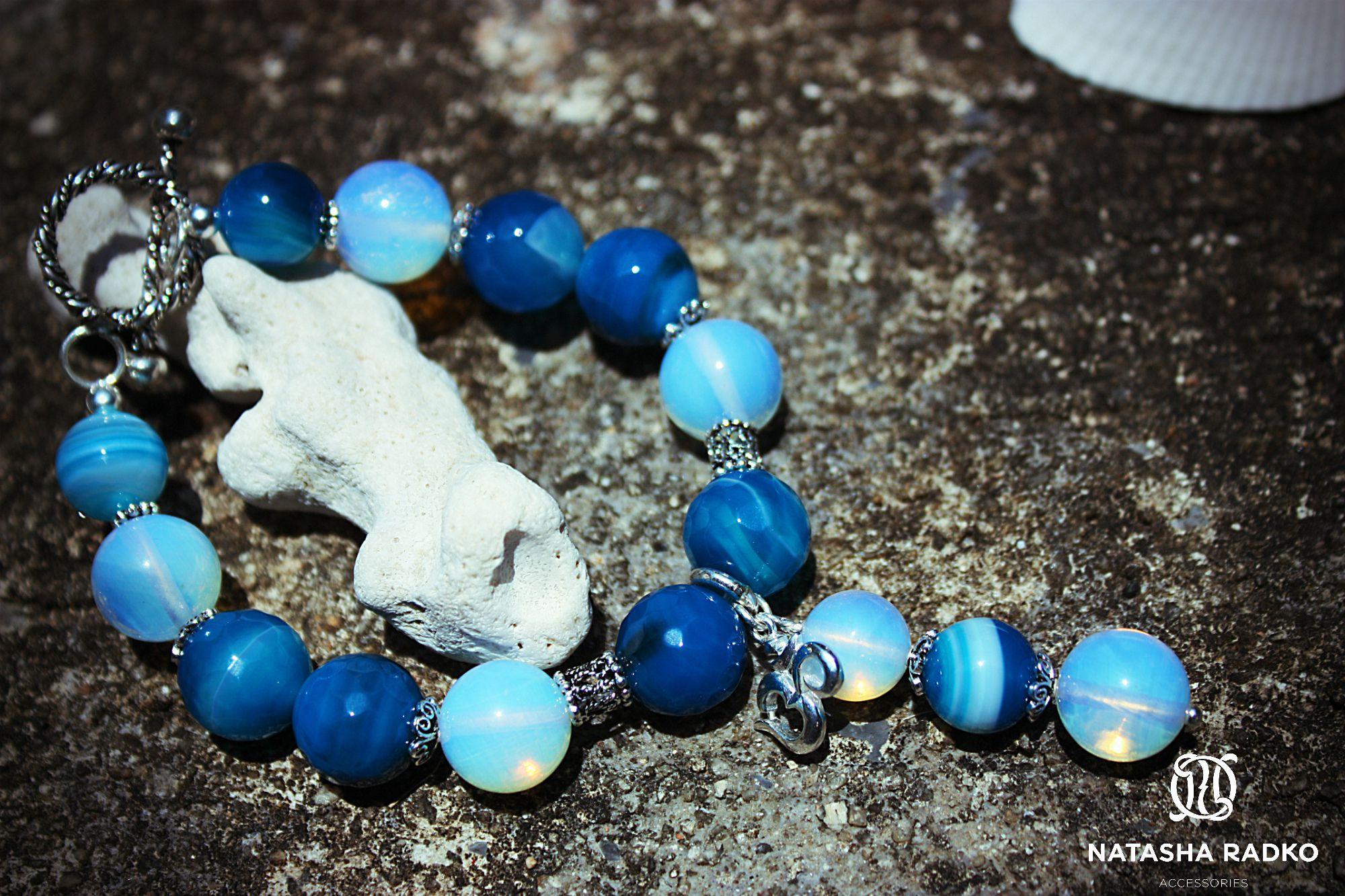 подарок браслет агат опал украшение серебро камни натуральные