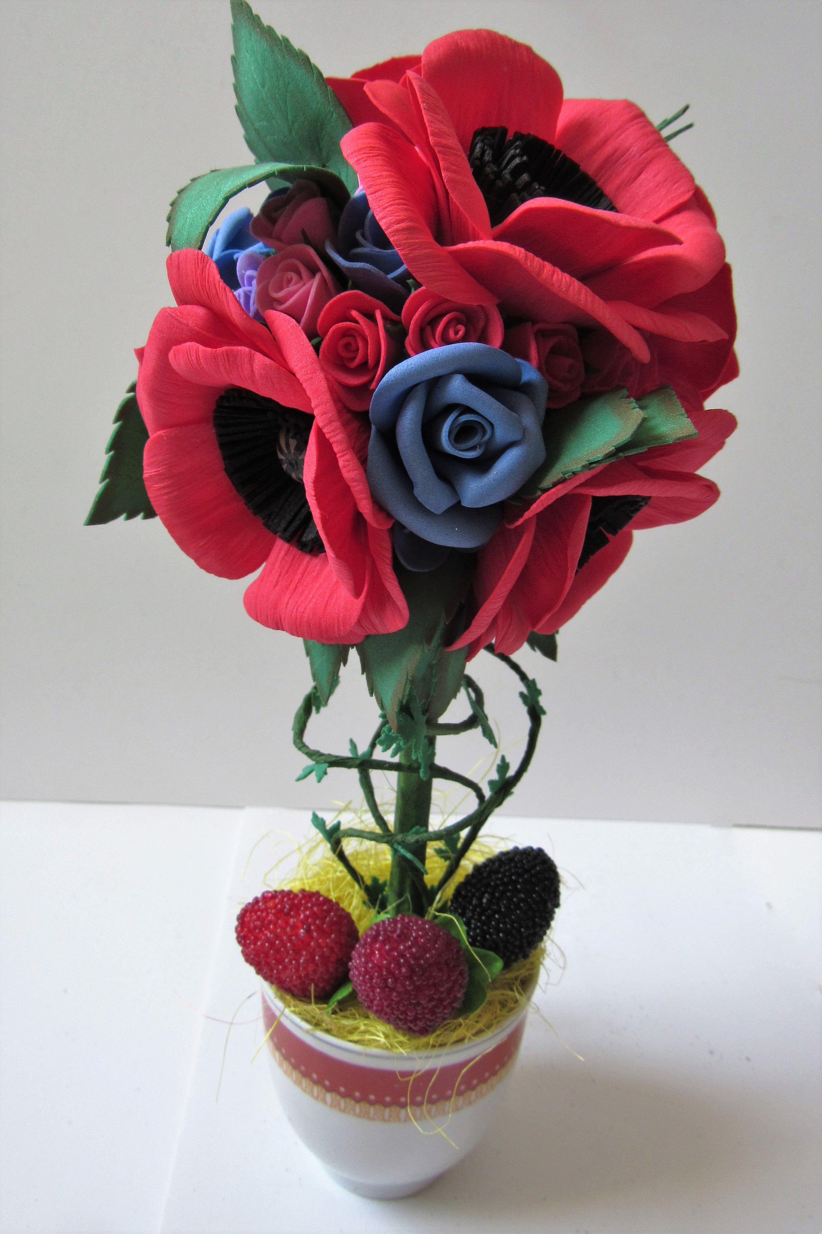 фоамирана маки топиарий розы из цветы