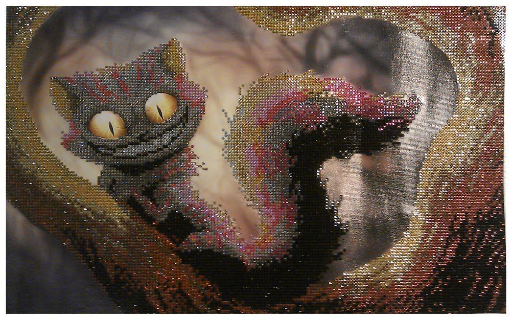 картина из стразы страз ручная алмазная вышивка чеширский раота кот