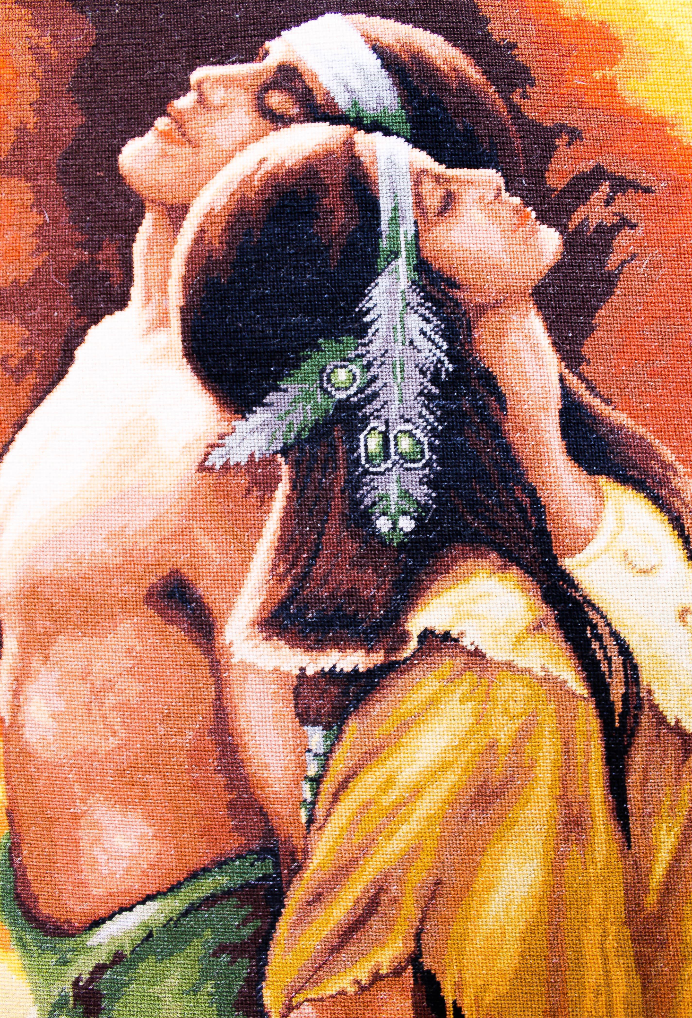 шов индейцы индеец картины вышитые гобеленовый гобеленовые гобеленовая интерьере индейская любовь крестом вышитая люди картина гобелен