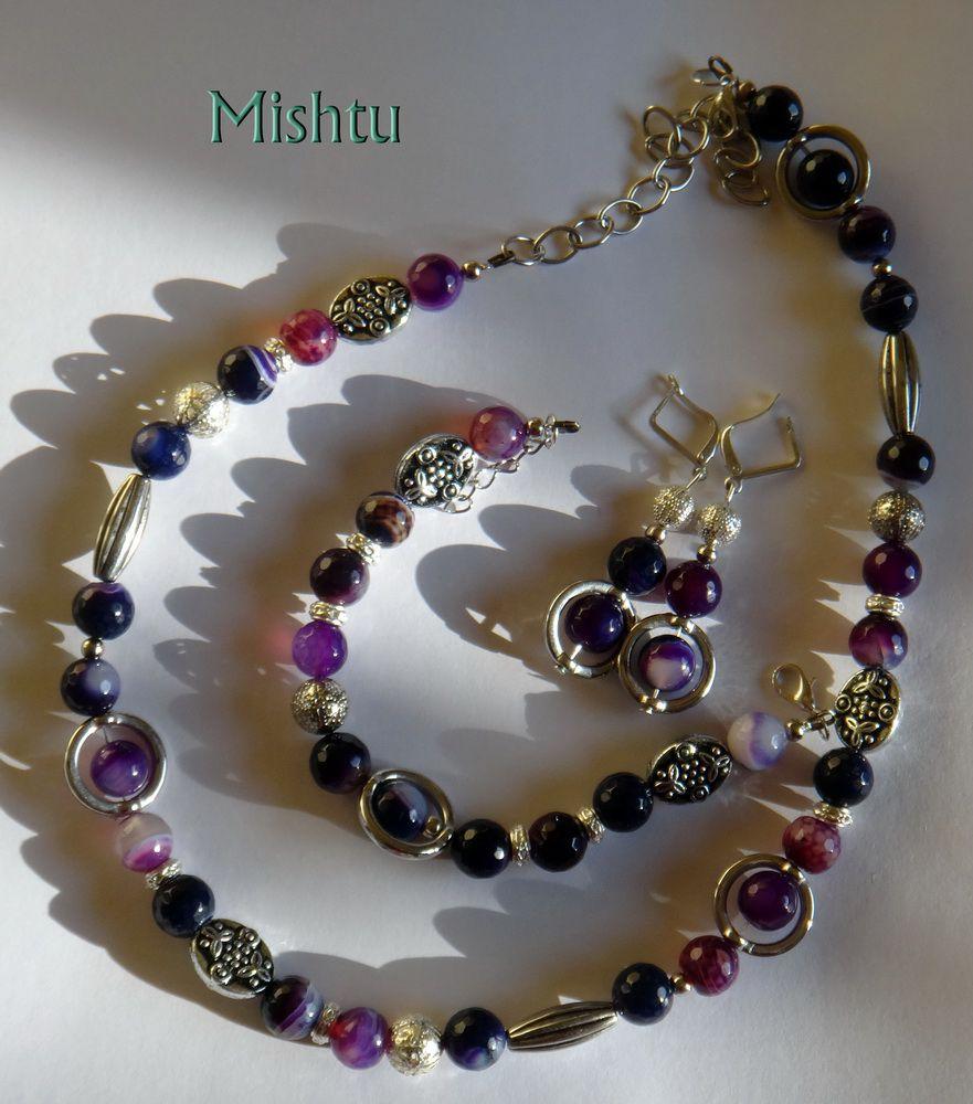 бусы браслет серьги агат комплект фиолетовый
