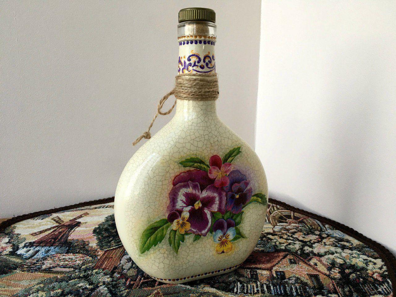 винтажнаябутылка кракелюр винтаж декупаж подарки handmade декор кухня ручнаяработа
