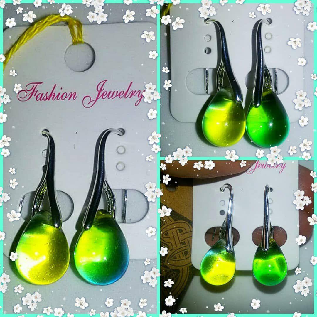 серьги капли зеленый